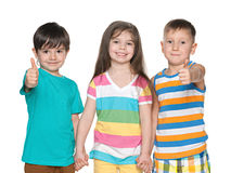 Three joyful little children Stock Photo
