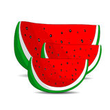Three juicy slices of watermelon, cartoon on a white background. Royalty Free Stock Photography