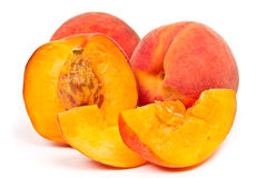 Three juicy sweet peach Royalty Free Stock Image