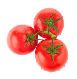 Three juicy tomatoes viewed from top. Three freshly washed tomatoes with water drops on white background Stock Photos