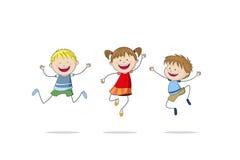 Three jumping children Stock Image