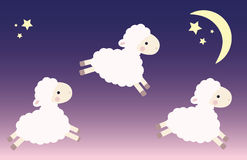 Three jumping lambs. In the night sky with stars and moon. Vector illustration Royalty Free Stock Image