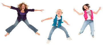 Three Jumping Sisters Royalty Free Stock Photo