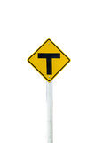 Three junction of sign road isolate on white background Stock Image
