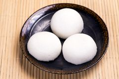 Three Karukan Manju. Three steamed yam cakes filled with red bean paste colled Karukan Manju that confection from Kagoshima Royalty Free Stock Images