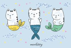 Three kawaii anime cat mermaids with fish tails, flock of fishes drawn with pen and colored crayons isolated on a blue ackground. Vector hand drawn illustation Royalty Free Stock Photography