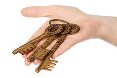 Three keys in the hand stock image