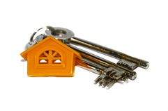 Three keys and home. Home and three keys on white background. Real estate symbols royalty free stock images