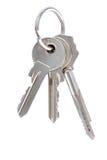 Three keys on keyring. Isolated over white background Royalty Free Stock Photography