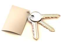 Three keys with note Royalty Free Stock Photography