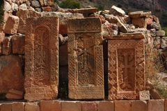 Three khachkars in Armenia. Three khachkars in the monastic complex Noravank in Armenia stock images