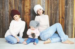 Three kid girls in hats Royalty Free Stock Photo