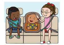 Three kids in the backseat using safety belt and child seat. Stock Photos