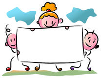 Three kids with a banner. Brush stroke kids with a banner cartoon image Royalty Free Stock Images