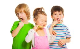 Three kids brushing teeth Stock Photography