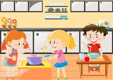 Three kids cooking and eating in kitchen. Illustration Stock Photo