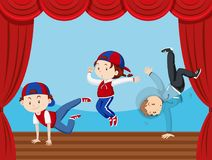Three kids dancing on stage. Illustration Stock Photography