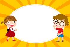 Three kids and frame. Cute cartoon kids and frame Stock Image