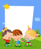 Three kids and frame Royalty Free Stock Images