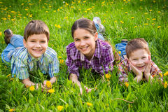 Three kids on green grass meadow Stock Photos