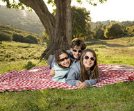 Three kids having fun royalty free stock photo