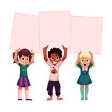 Three kids holding blank empty posters, boards over head. Three kids, black and Caucasian, holding blank empty posters over head, cartoon vector illustration Royalty Free Stock Photo
