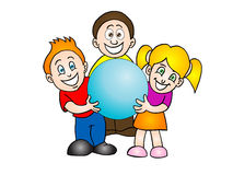 Three kids holding blue sphere Stock Photo