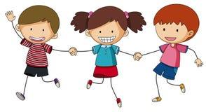 Three kids holding hands. Illustration royalty free illustration