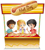 Three kids in a hotdog stand vector illustration