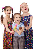 Three kids with ice cream Royalty Free Stock Photos
