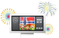 Three kids inside the scoreboard with the flag of Norway Stock Photos