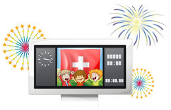 Three kids inside the scoreboard with the Switzerland flag Stock Photography