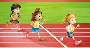 Three kids jogging stock illustration