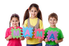 Three kids with letters Stock Images