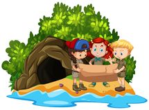 Three kids looking at map in front of cave on island. Illustration Royalty Free Stock Photo