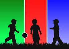 Three kids play ball. Three of kids black contours play ball on the grass on three different backgrounds - green,red and blue Stock Images