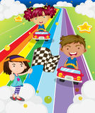 Three kids playing car racing Stock Image