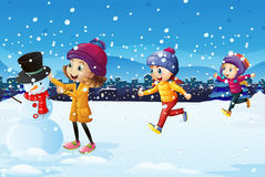 Three kids playing in the snow field. Illustration Stock Photography