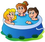 Three kids in pool Stock Photos
