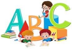 Three kids reading books. Illustration Royalty Free Stock Photos