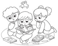 Three kids reading a pop-up book. Coloring illustration of friends reading a pop-up book together Royalty Free Stock Photos
