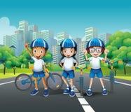 Three kids riding bike on the road. Illustration Stock Photography
