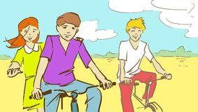 Cartoon Three Kids Riding A Bikes. Three Kids Riding A Bikes On Country. Colorful Cartoon Vector Sketch Royalty Free Stock Images