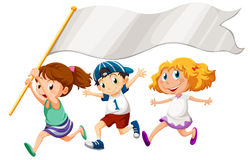 Three kids running with an empty banner Stock Photos