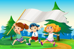 Three kids running with an empty flag banner Stock Photography