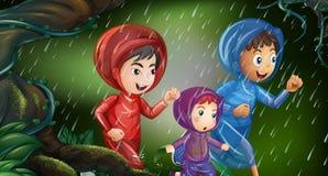 Three kids running in the rain. Illustration Royalty Free Stock Photo