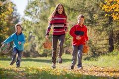 Three kids running together on autumn forest with baskets. Three happy kids running together on autumn forest with baskets for mushrooms Stock Images