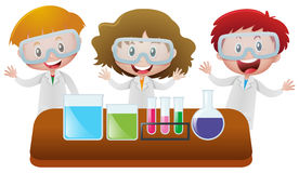 Three kids in science lab. Illustration Stock Photography