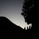 Three kids. In silhouette photography style Royalty Free Stock Images