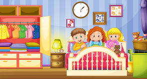 Three kids sleeping in the bedroom Royalty Free Stock Photos